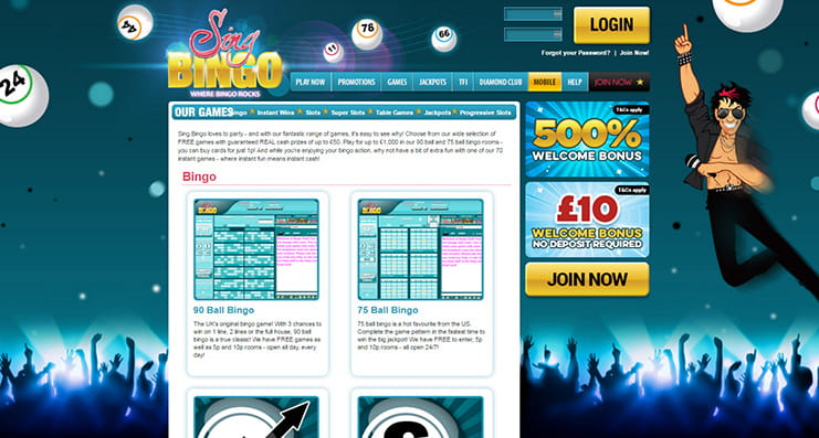 Sing bingo members page number